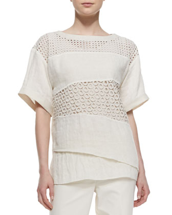 Xena Short-Sleeve Textured Linen Panel Top