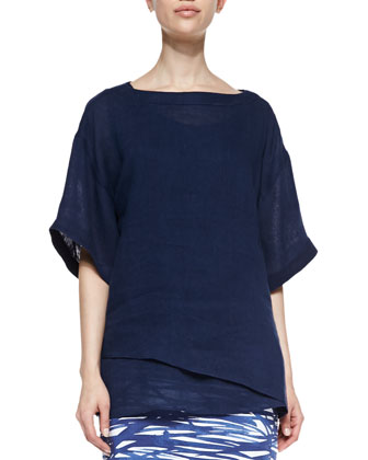 Lina Short-Sleeve Linen Top