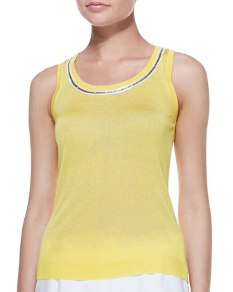 Bead-Trim Shell, Yellow, Women's