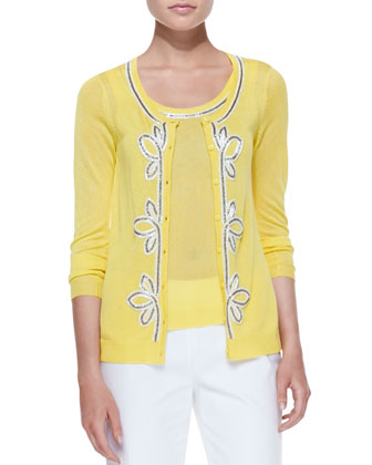 Button-Front Cardigan with Bead Trim, Yellow, Women's