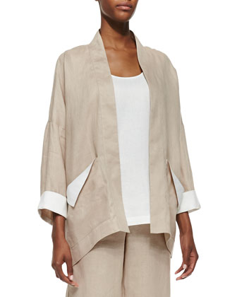Dropped-Shoulder Linen Jacket, Linen Scoop-Neck Tank & Straight-Leg Linen ...