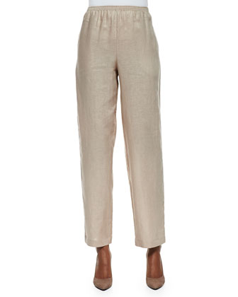 Unlined Straight-Leg Linen Pants, Sesame