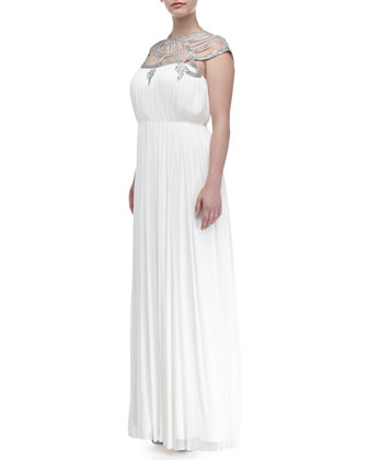 Mona Silk Beaded-Yoke Gown