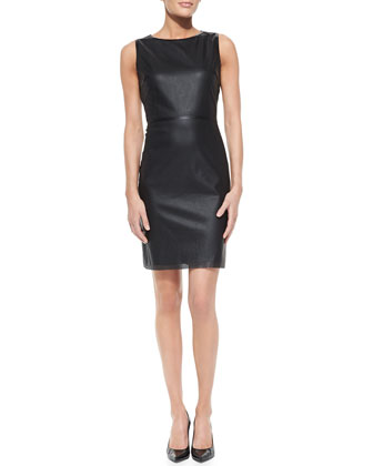 Neala Sleeveless Perforated Faux-Leather Dress