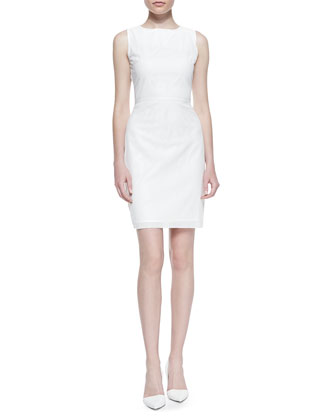 Neala Sleeveless Perforated Faux-Leather Dress, White