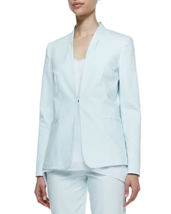 Lisbon Twill Collarless Jacket, Soft Sky