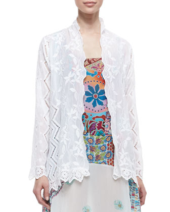 Jagger Mixed-Design Voile Coverup Jacket