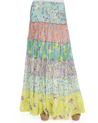Tropical Silk Tiered Maxi Skirt