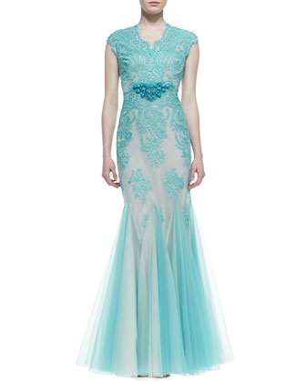 Cap-Sleeve Lace Overlay Mermaid Gown, Aqua