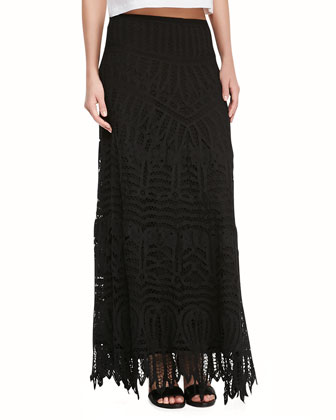 Bull Embroidered Crop Top & Lace Maxi Skirt/Dress