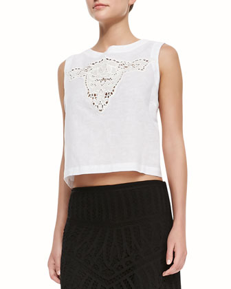 Bull Embroidered Crop Top