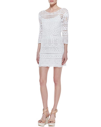3/4-Sleeve Fitted Lace Dress