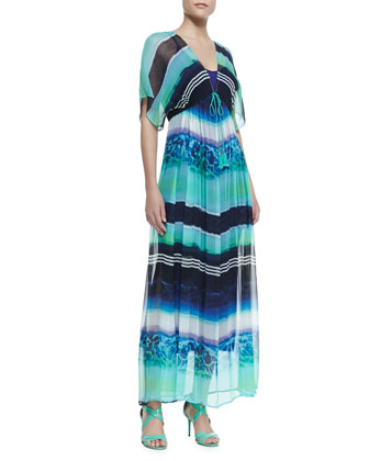 Empire-Waist Silk Kimono Maxi Dress