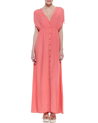 Button-Front Empire Maxi Dress