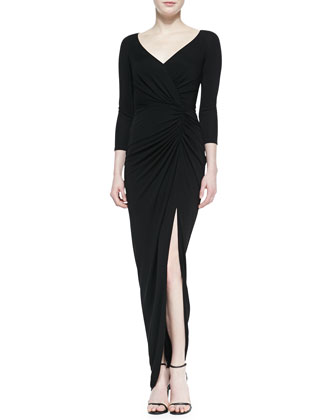 3/4-Sleeve Lace Back Gown with Slit, Black