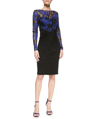 Long-Sleeve Lace-Bodice Cocktail Dress