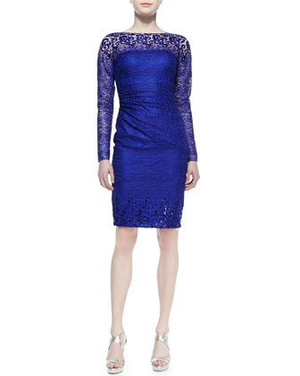 Long-Sleeve Lace Cocktail Dress, Royal