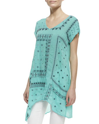 Bandana Georgette Short-Sleeve Tunic, Women's