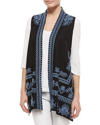 Linen Embroidered Long Vest & 3/4-Sleeve V-Neck Tee, Women's