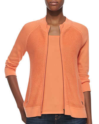 Knit 3/4-Sleeve Jacket and Scoop-Neck Pima Cotton Tank