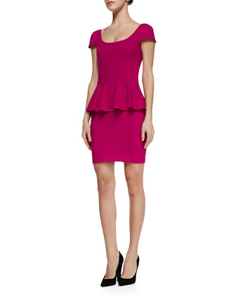 Cap-Sleeve Ponte Peplum Dress