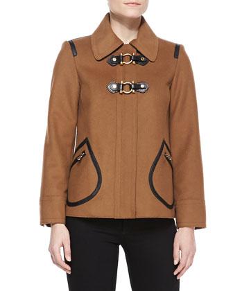 Francoise Toggle-Front Felt Jacket