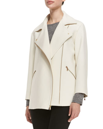 Eva Crepe Asymmetric Zip Jacket