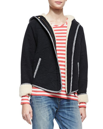 Willier Quilted-Knit Hooded-Jacket & Pam Stripe-Jersey Long-Sleeve Tee & ...
