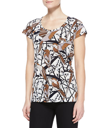 Francoise Toggle-Front Felt Jacket & Nightingale-Print Short-Sleeve Tee