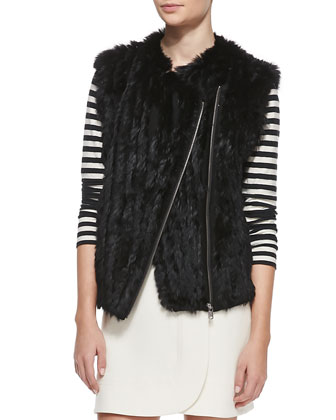 Abbey Asymmetric Rabbit Fur Vest