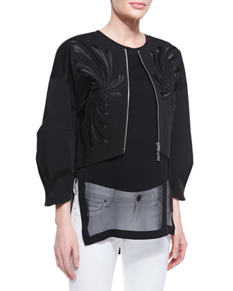 Dandelion Twill Embroidered Jacket & Bonded Chiffon Overlay Tank Top