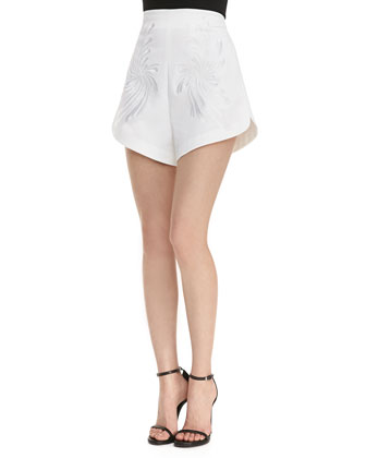Dandelion Embroidered High-Waist Shorts