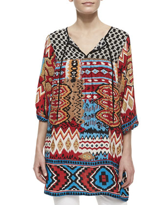 London Silk Mixed-Print Long Tunic, Women's