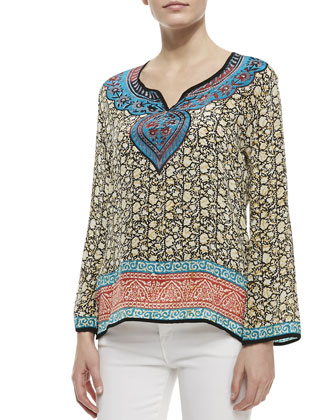 Mia Silk Border-Print Tunic, Women's