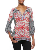 Trisha Printed 3/4-Sleeve Tunic