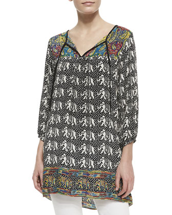 London Silk Elephant-Print Long Tunic, Women's