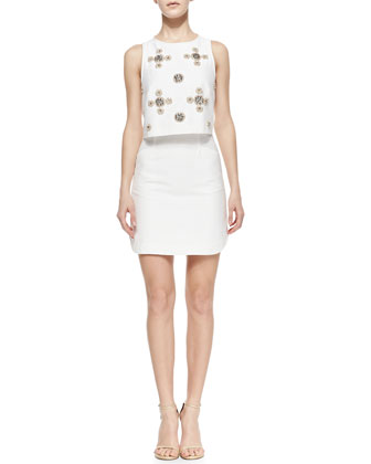 Sleeveless Beaded Cluster Pop Top Dress, Ivory/Multicolor