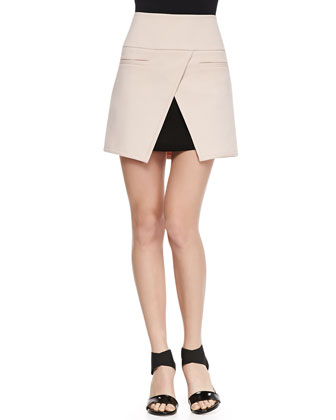 City Stretch Open Tulip Hem Miniskirt, Pale Blush/Black
