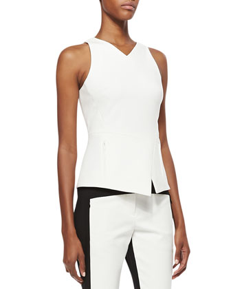 City Stretch Sleeveless Asymmetric Hem Top