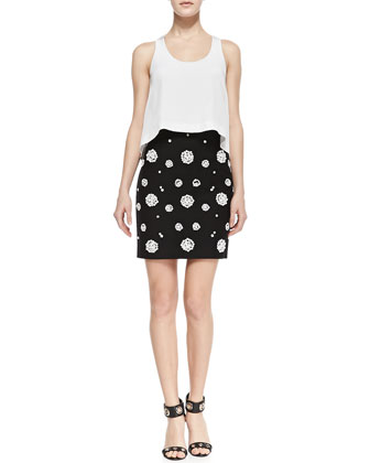 Sleeveless Pop Top Dress with Beaded Skirt, White/Black