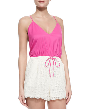 Malay V-Neck Jersey/Lace Short Jumpsuit, Peony