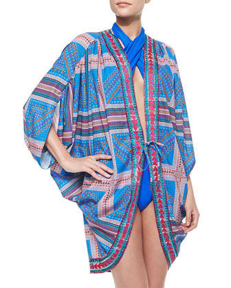 7 Mile Printed Tie Coverup Jacket & Sunset Crochet Beach Bag