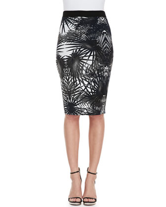 Sangria Palm-Print Pencil Skirt