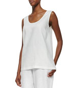 Linen Scoop-Neck Tank, White