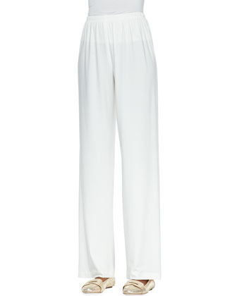 Straight-Leg Knit Pants, White