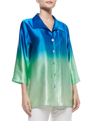 Ombre Charmeuse Button-Front Shirt & Straight-Leg Knit Pants, Women's