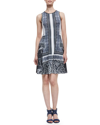 Etched Marble-Print Jersey Sleeveless Dress