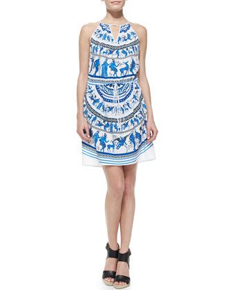 Corinthian Vase Voile Keyhole-Neck Dress