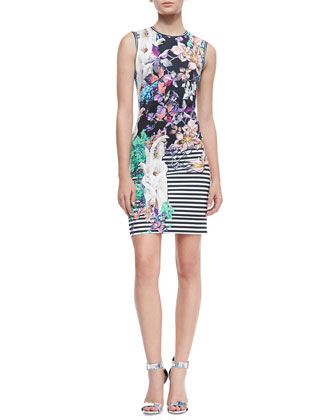 Enchanted Garden Neoprene Sleeveless Dress