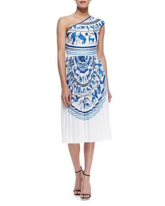 One-Shoulder Corinthian Vase Dress
